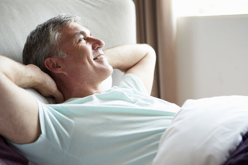 Middle Aged Man Waking Up In Bed - Wide Awake!
