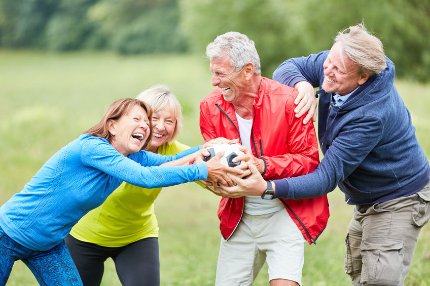 Group of seniors playing with a soccer ball - Nature's 8 Powerful Anti-aging solutions